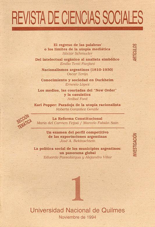 Revista de Ciencias Sociales. Primera época