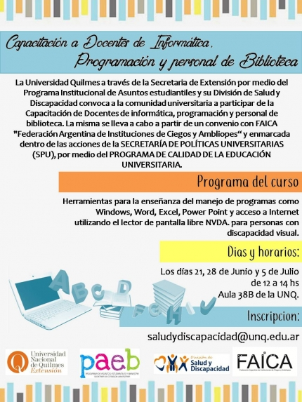 Flyer capacitaciones sobre discapacidad visual