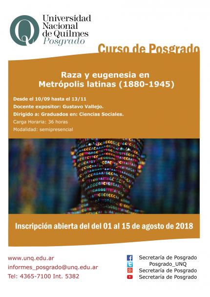 Raza y eugenesia en Metroacutepolis latinas 1880-1945