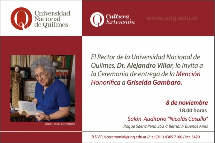 Mencioacuten Honoriacutefica a Griselda Gambaro