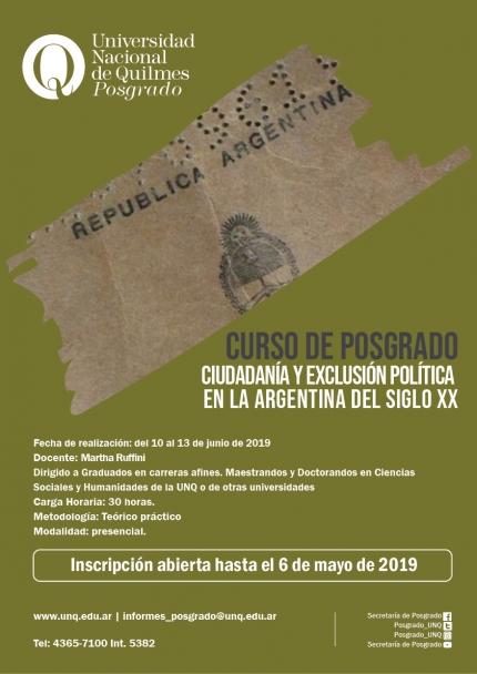 Ciudadaniacutea y exclusioacuten poliacutetica en la Argentina del siglo XX