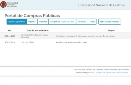 Portal de Compras Puacuteblicas de la UNQ