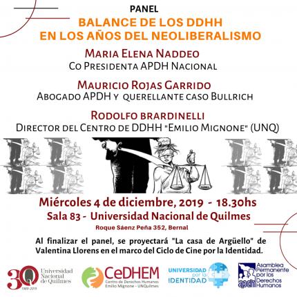 Panel Balance de los DDHH en los antildeos del neoliberalismoquot
