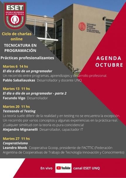 Agenda octubre Ciclo de charlas de praacutecticas profesionalizantes